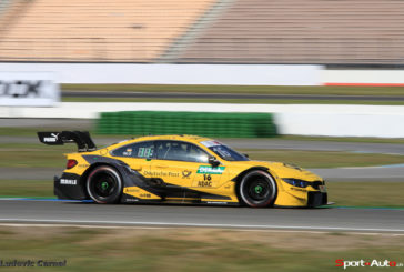 Timo Glock finishes third on the podium for BMW in the season opener at Hockenheim